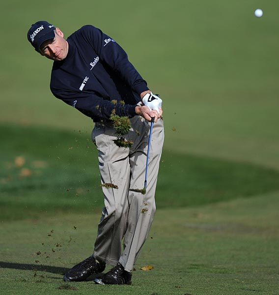 Jim Furyk dropped five shots over the final five holes for a 74 and a tie for fifth.