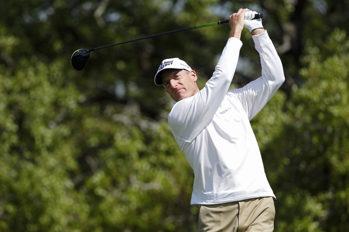 Jim Furyk is two strokes back after a three-under 69.