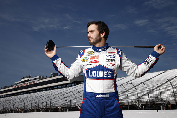 """Monday's my off day, so that's when I play—it's a chance to spend time with friends.""                                                                     2009 AP Athlete of the Year Jimmie Johnson, 35, is the only driver to win four straight Sprint Cup Series Championships."