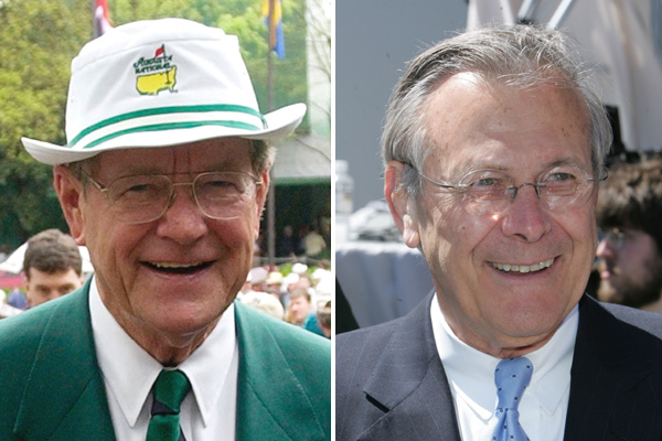 "Former Chairman of Augusta National William W. ""Hootie"" Johnson and former Defense Secretary Donald Rumsfeld."