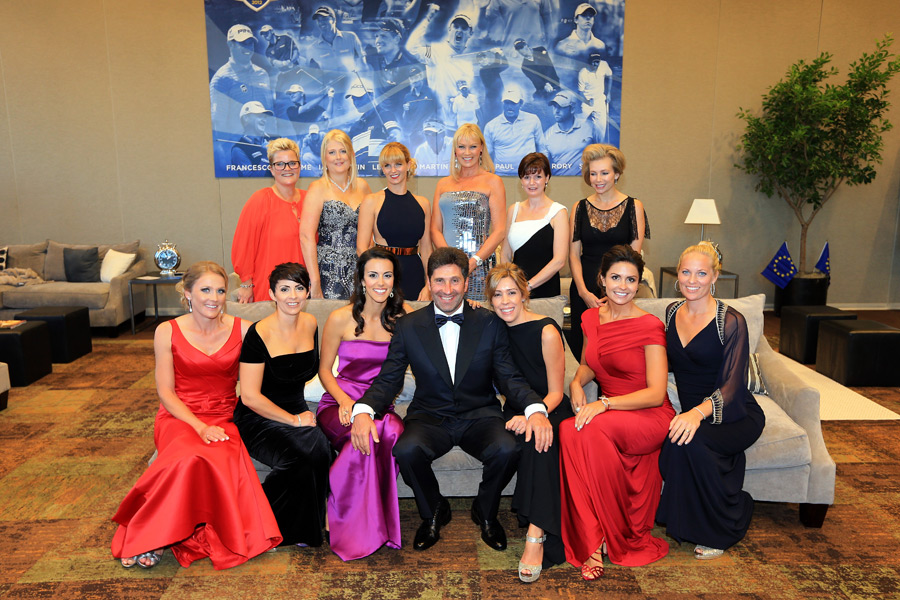European captain Jose Maria Olazabal with the wives and girlfriends of the European players.