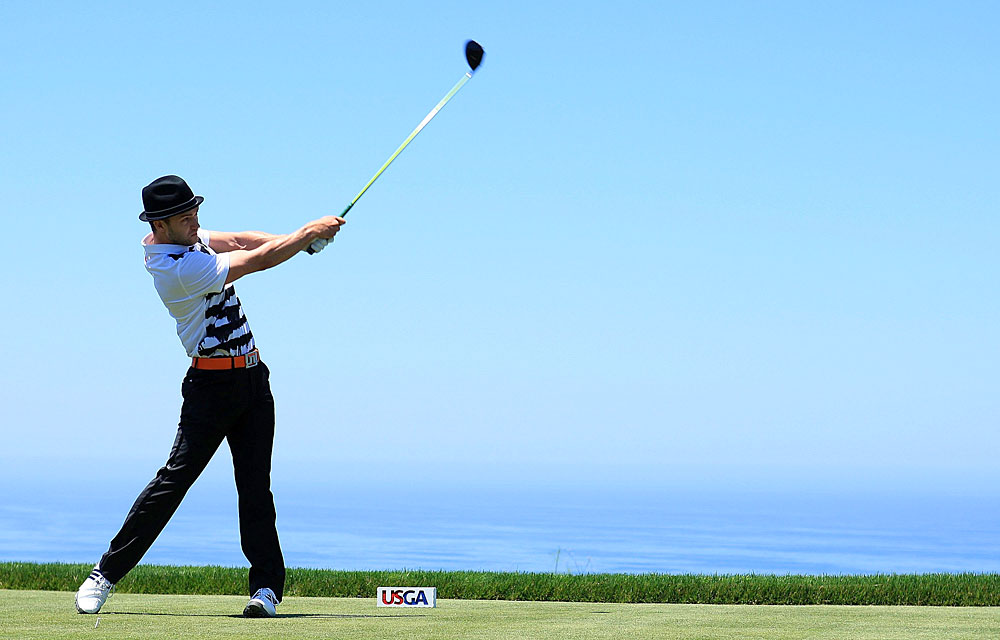 Timberlake joined Matt Lauer and Tony Romo at the 2008 U.S. Open Challenge at Torrey Pines. Timberlake shot a 98.