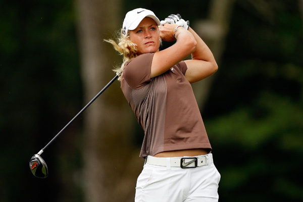 Suzann Pettersen made a double bogey on 11, but she recovered with two birdies to post a 72.