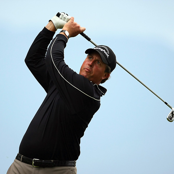 Phil Mickelson shot a three-under 68 on Friday at the Scottish Open. He is one shot behind the leaders.
