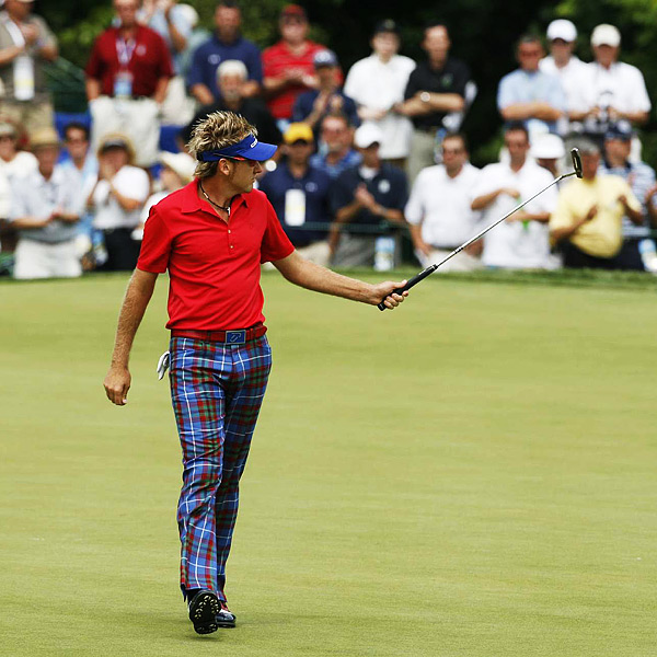 Ian Poulter briefly tied for the lead until he made bogeys on Nos. 3 and 18. He finished at two over par.