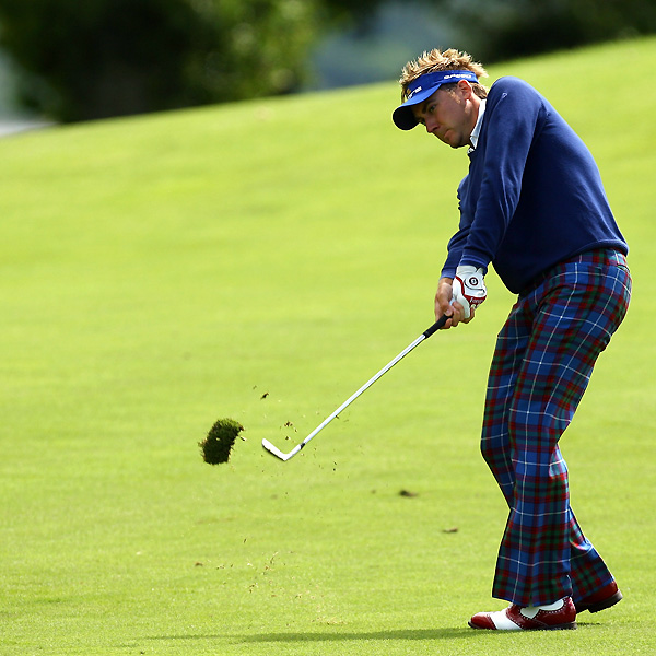 Ian Poulter was four under on the front nine, but he shot four over on the back to shoot even par.