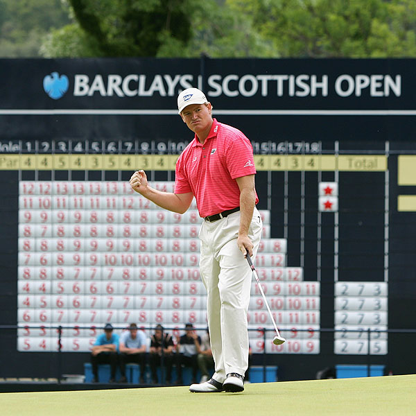 Ernie Els, who birdied the final hole, finished one stroke off the lead at 13 under par.