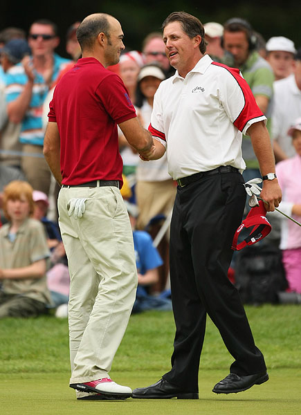Gregory Havret parred the playoff hole, while Mickelson made bogey.