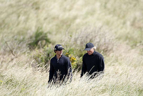 Fellow Australians Adam Scott and Greg Norman played a round together on Wednesday.