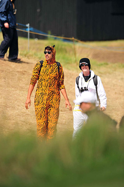 Tiger Woods wasn't at the British Open, but he did have at least one fan at Royal St. George's.