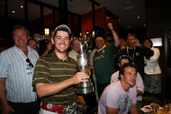 Oosthuizen stopped by the Jigger Inn, near the Old Course, for a little celebration.
