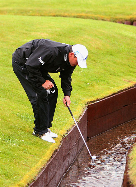 Scotsman Paul Lawrie found the water and made double bogey on No. 3. He birdied the 18th to shoot 73.