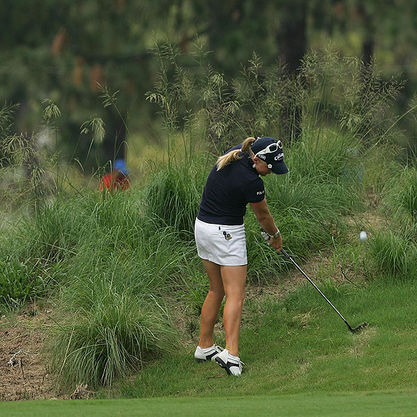 Morgan Pressel ended up in the rough on No. 9, but managed a par. She finished T10 at three over par.