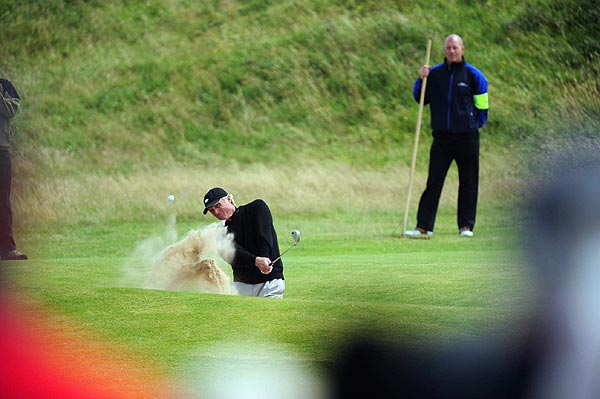 Norman, 53, found himself in the bunker on the first hole. He bogeyed, and the next two, to drop from the lead.