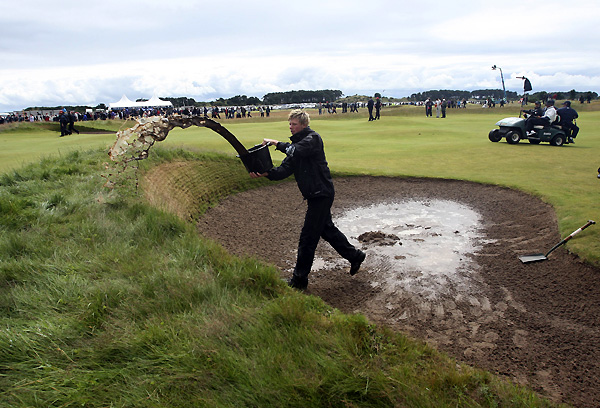 Heavy rain left puddles in the fairways and bunkers on Sunday. Carnoustie saw classic British Open conditions this week — wet and cold — and the course did not play nearly as hard as it did in 1999.
