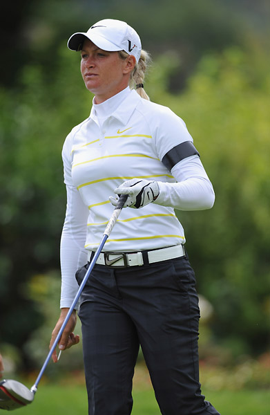 Suzann Pettersen wore a black armband on Saturday in remembrance of those killed in Friday's attacks in Olso. She shot a 68 on Sunday to finish T6.