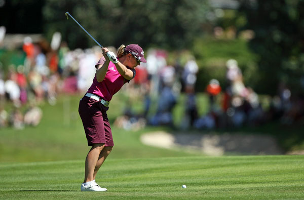 Annika Sorenstam bogeyed two of her final four holes to shoot a 71.