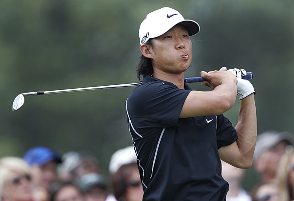 Anthony Kim fired a bogey-free 62 to grab a one-shot lead heading into the final round.