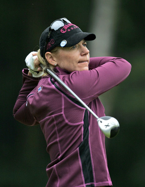After a rocky start Annika Sorenstam made birdies on 14 and 15 to shoot even par.
