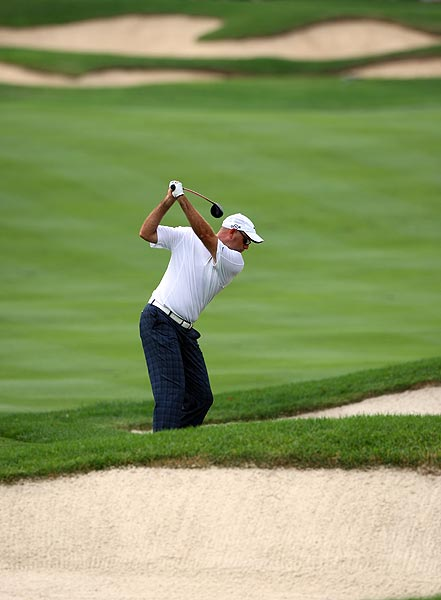 Stewart Cink opened with a bogey, but finished two strokes off the lead at two under par.