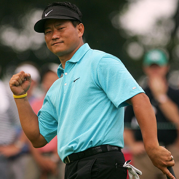 """K.J. Choi finished with six birdies and two bogeys at four under par for a share of the lead. """"Considering that this was my first time being here at this golf course, I tried to play very carefully, hole-by-hole,"""" he said. """"I think that approach ended up working out."""""""