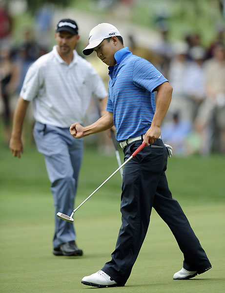 Anthony Kim shot two over on the back nine, but he made a birdie on 18.