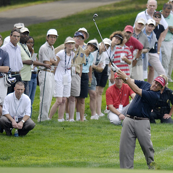"""Phil Mickelson shot a first-round 74 to finish at four over par. """"I was a little rusty. Last week I thought I was playing pretty well,"""" Mickelson said. """"I thought I hit a reasonable number of good shots, but I scored terrible."""""""
