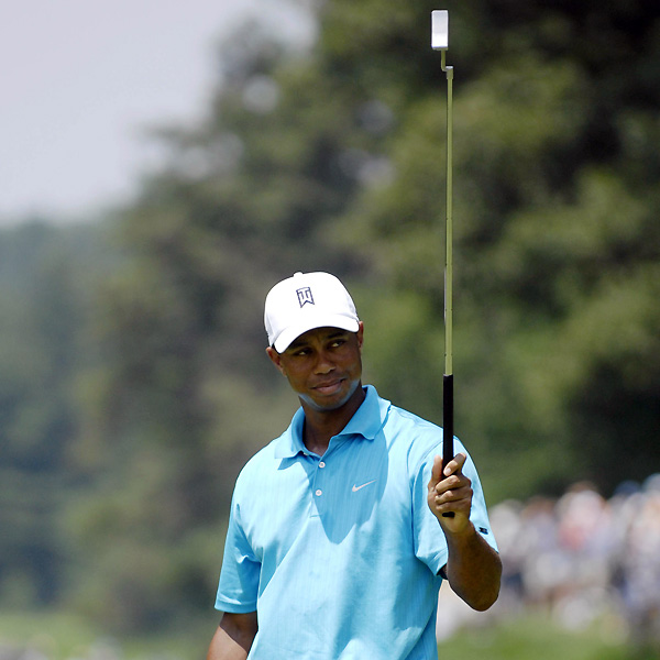 "Woods needed 34 putts on Thursday, but only 25 on Friday. ""I did some altering on my putter last night,"" Woods said. ""I didn't bend it. I just put some lead tape on it and made it a little bit heavier, because the greens were a touch on the slow side."""
