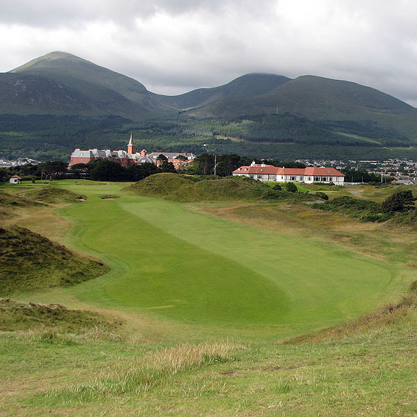 "The famous ninth hole at County Down. ""I was secretly hoping that I wouldn't like County Down, that I would be able to reveal to you that it was over-hyped, not worth the price, that its famously snooty attitude was well-earned, that you should stick to the hidden gems of Carne, Ardglass and the like. And all I can really tell you is that, yeah, it is that good,"" Coyne said."