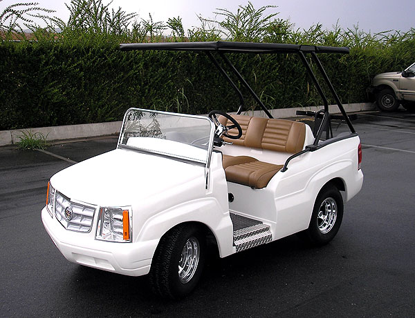 "CART PARTS                       Turn any golf cart into your couch away from home                                                                     Caddy Escalade Golf Cart                                              The mother of all golf carts comes with a Cadillac front grill, a front and rear ice chest, and can be equipped with 17"" rims. Trophy wife not included. luxurycarts.com, starting at $18,250."