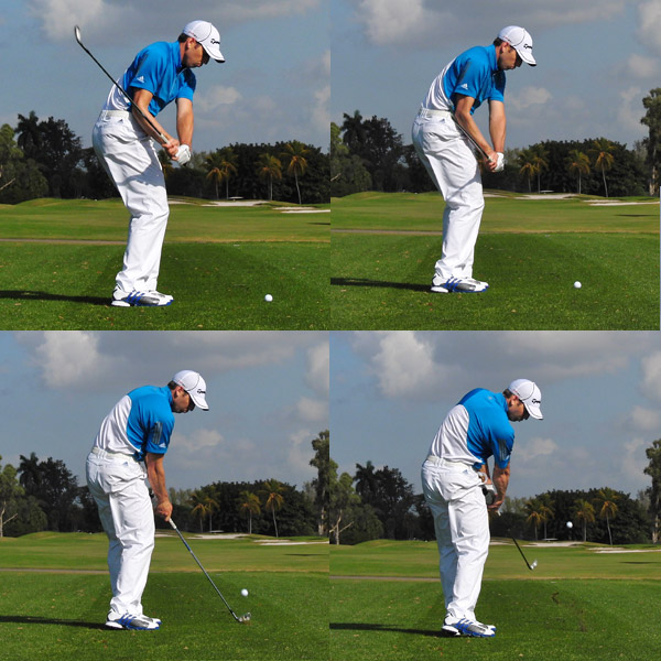 My Iron Swing: Maintaining Forward Bend                           As I swing though impact, notice how I maintain my forward bend toward the ball — it's the same amount of bend I established at address. You need to stay over the ball through impact like this to hit pure iron shots. If you lean backward, your club will flip up and catch the ball thin. You might think that you lifted your head, but what actually happened is that you came out of your address posture.