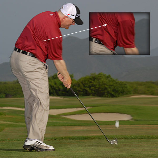 TURN TOWARD THE TARGET Compare impact to setup — you can see more of the left leg and upper back. Rotating on your downswing like this gives you extra control. It also makes your hands passive so you can't hook it.