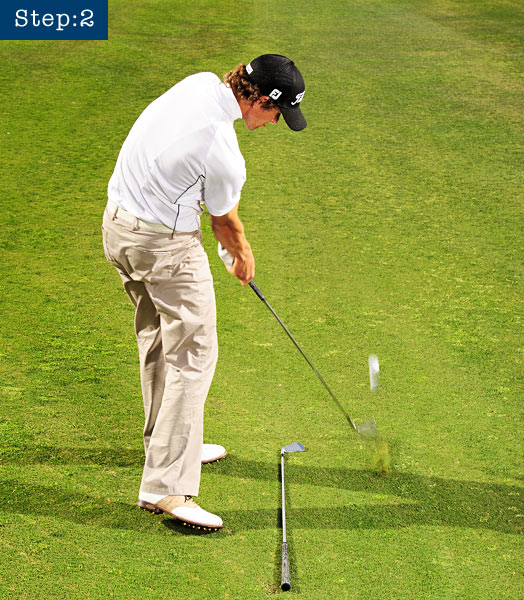 STEP 2                           Make your normal swing — start with a smooth backswing and end with a full finish.