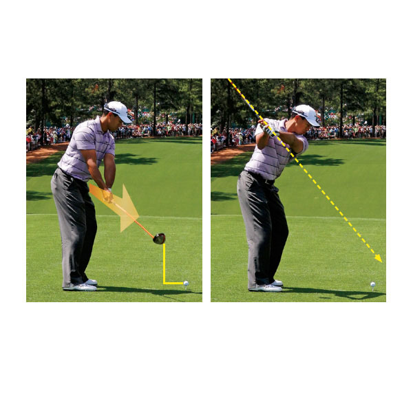 Mistake No. 1: His Takeaway Is Too Outside and Too Flat                                                      Tiger is swinging the club away from his body (left photo) much more than he did in 2000. This creates a much rounder swing shape and sets the shaft much flatter at an earlier stage in his motion. Check out how the butt of Tiger's club points well outside the ball (right photo), indicating that it's off plane.