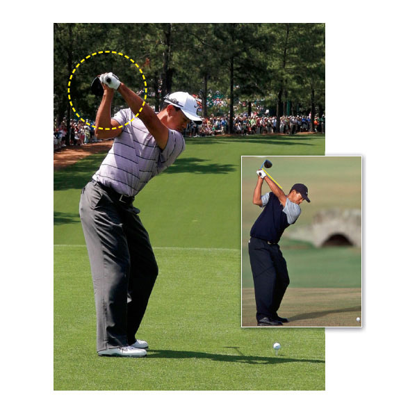 Mistake No. 2: He's Laid Off at the Top                                                      Tiger's current top position (left photo) is radically different from where it was in 2000. His arm swing is significantly flatter, the club is in a laid-off position (pointing left of the target), and his left wrist is slightly bowed, which closes the clubface a bit. From here he has to hold off the release or he'll hit a pull-hook.                                                                                 The FixTiger needs to get more neutral again (right photo), and so do you if your clubshaft points to the left of the target like Tiger's at the top. The laid-off position is big trouble for amateurs, almost ensuring a push, slice, or even severe pull to the left. If you're a slicer, you're actually better off pointing the clubhead to the right of the target than the left. For weekend players, this position gives you a better chance of squaring the clubhead at impact consistently.