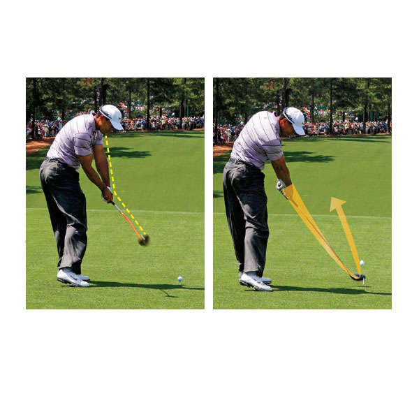 "Mistake No. 3: He's Too Steep on His Downswing                                              Usually when a golfer is ""stuck"" it means the club is coming too far from the inside with the body out in front of the arms. In Tiger's case his body is out in front of his arms, but his arms and club are too far away from his body. This can work with a mid- or short-iron, but with longer clubs, particularly the driver, it can be disastrous."
