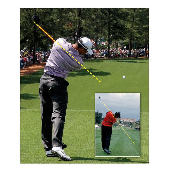 "Mistake No. 4: He's Not Exiting Impact on Plane                                              Here's a telltale sign of Tiger's recent struggles: the club is exiting below his left shoulder (left photo). This low exit position indicates that his arms are simply too far away from his body on his downswing. The result is a jammed position reminiscent of a mid-handicapper's swing. You'll also notice that his left foot has left the ground, which causes his body to spin out through impact.                                              The Fix The quality of any swing position is the result of the positions that preceded it. Making key fixes in his takeaway and top position likely would repair everything that follows, including his low exit plane. If you're feeling jammed like Tiger in your through-swing, try to keep your arms closer to your body on your downswing so they can get farther away from you through impact. Think ""long arms"" as you move past impact and you'll be on track (right photo)."