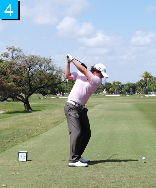 4. Rory's hips are still resisting, aided by his ability to keep the flex in his right knee. Check out the difference between his shoulder and hip turn. You need great range of motion and flexibility to do this.