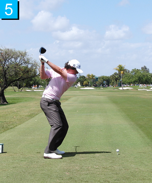 5. Rory's club has moved, but only because his lower body is shifting and turning back toward the target. You often see a slight squat with great players as they shift their weight back to their lead leg.