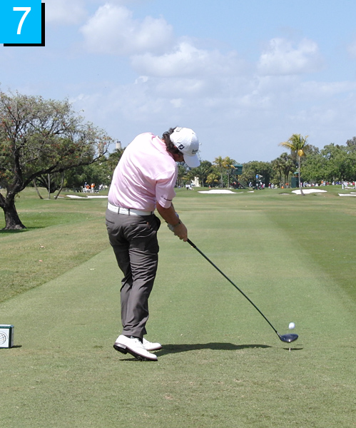 7. The moment of truth: Rory's hips and chest are open to the target at impact. His belt line is level and he's pushing off his right foot. That's why his ball speed is 176 mph, way above Tour average.