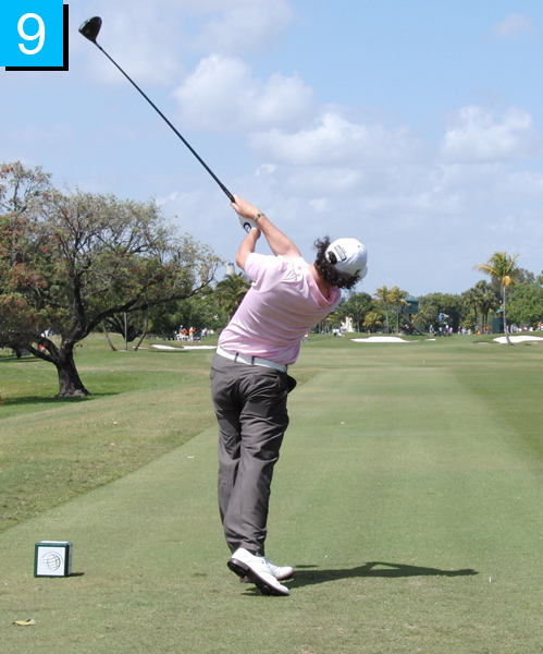 9. His club exits back on plane and his torso and head are still rotating through impact, evidenced by his right foot continuing to lift up. His right leg is nice and long, which means his right side has really moved.
