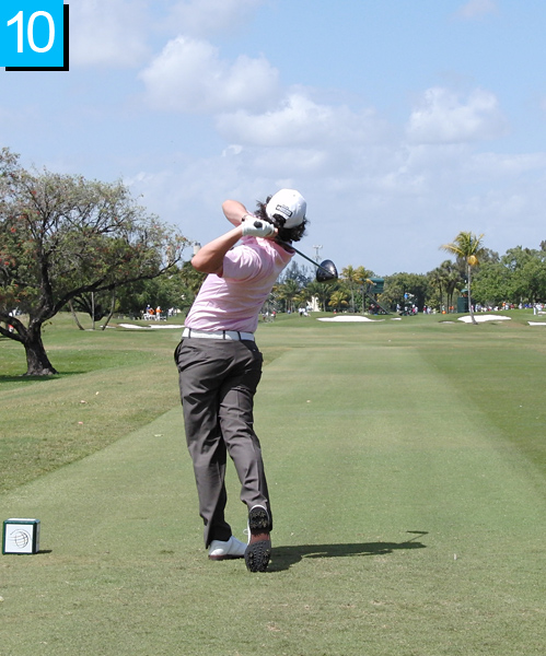 10. Just like his address position in Frame 1, Rory is perfectly balanced in his finish. His torso has never stopped rotating, and the club shaft has swung beautifully around his neck.                                                          • Read Michael Bamberger's profile of McIlroy
