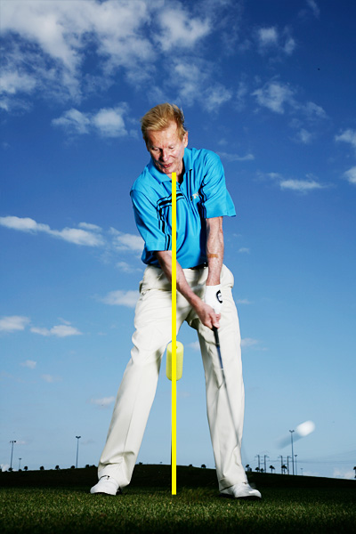 No If your right knee doesn't drive past the midline of your stance on your downswing, your ballstriking will suffer.