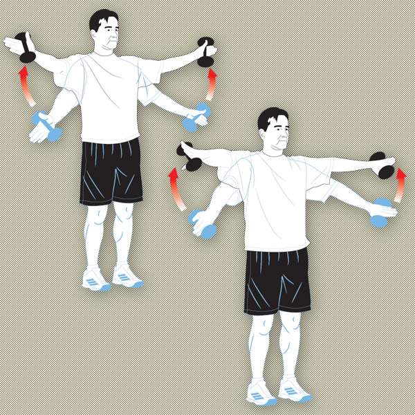 Rotator Cuff Exercises With arms at your sides and thumbs pointed down, raise a three-pound weight shoulder-high at a 30-degree angle. Turn your thumbs up to open your shoulders and repeat the raise.                                               Rotator Cuff Frequency: 3 sets of 10, 3 times a week