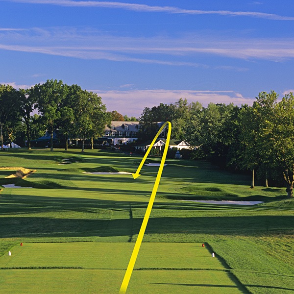 "Toughest Drive                                                      18th hole (par 4, 484 yards)                                                                                 Fear factor: OB on the right, deep bunkers on both sides pinching the landing area and dense rough. The good news for Phil Mickelson: no trees left!                                                      How the pros should play it: ""It's a classic U.S. Open tee shot, looking at the clubhouse, hitting down to a fairway that climbs back up. Everything pitches to the right. Drawing it is the best way to hold the fairway, and it's critical to finish in the short stuff because there's a quasicross-bunker up ahead.""                            — Brad Faxon, eight-time PGA Tour winner and low amateur at the 1983 U.S. Open at Oakmont                                                       Average Joe: ""Feeling pressure to break 100, I slotted a drive between the bunkers, then scooted a skinny 3-wood to the front apron, 30 feet below the hole. I three-jacked for bogey, just as Larry Nelson did at the 72nd hole in the 1983 U.S. Open. Nelson shot 67; I shot 96."""