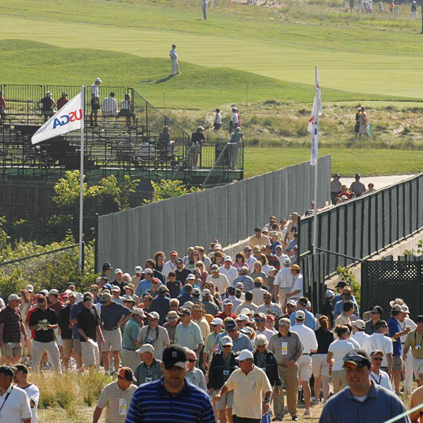 Fans filled the course to watch the practice round Tuesday.