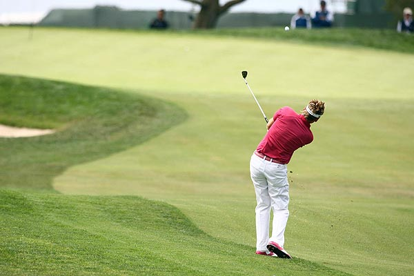 Ian Poulter double bogeyed the par-4 fourth hole on his way to a seven-over 78.