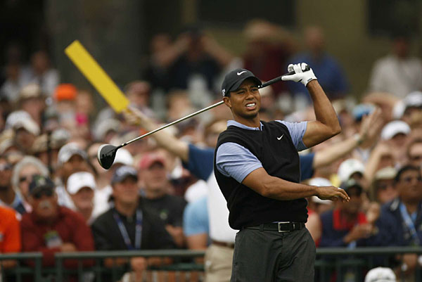 Despite his heroic finish, Woods struggled early. His first tee shot went left and found the deep rough.