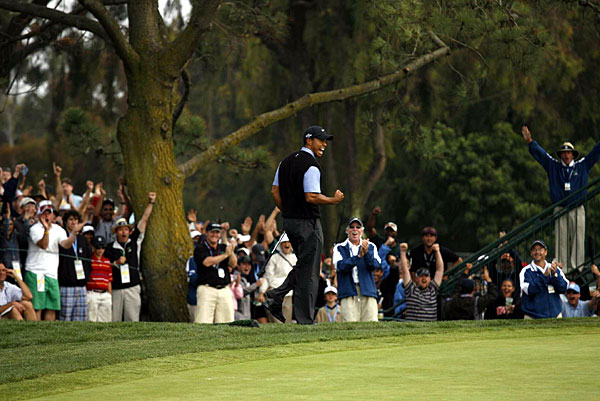 Woods elicited a deafening roar with the eagle at the 13th.