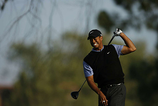"""Woods was clearly in pain, especially toward the end of the third round. Asked after the round if his knee was getting worse, he replied, """"Yes, it is."""""""